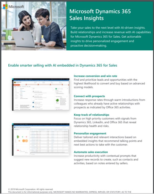 Sell smarter with Microsoft Dynamics 365 Sales Insights